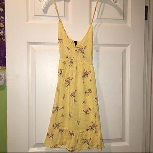 Yellow, floral, mini dress